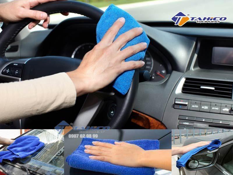Khăn lau xe chuyên dụng microfiber 30x30 chuyên dùng để lau xe hơi, xe gắn máy và các vật dụng được phủ sơn,..