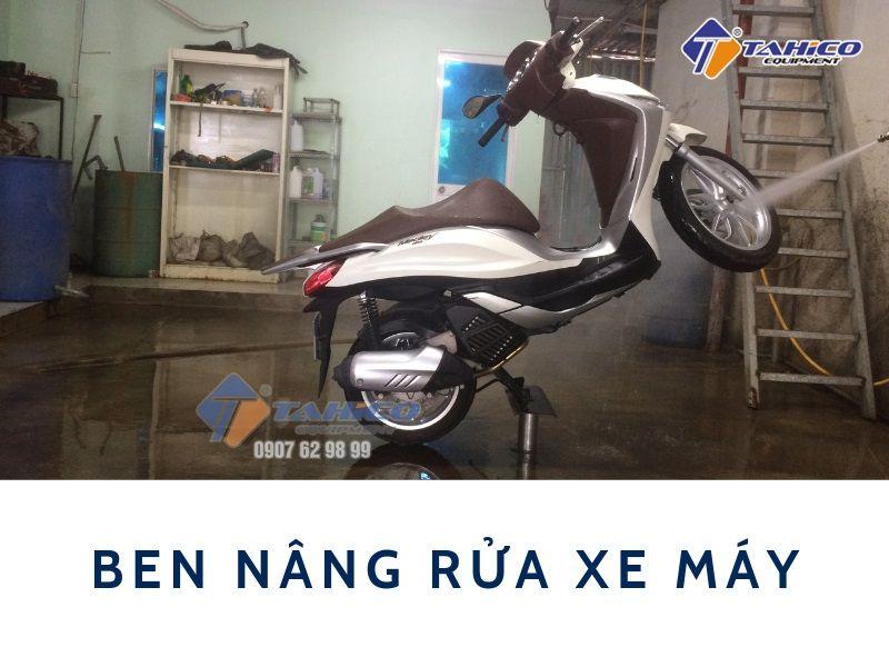 Cầu nâng 1 trụ ben chuyên rửa xe gắn máy