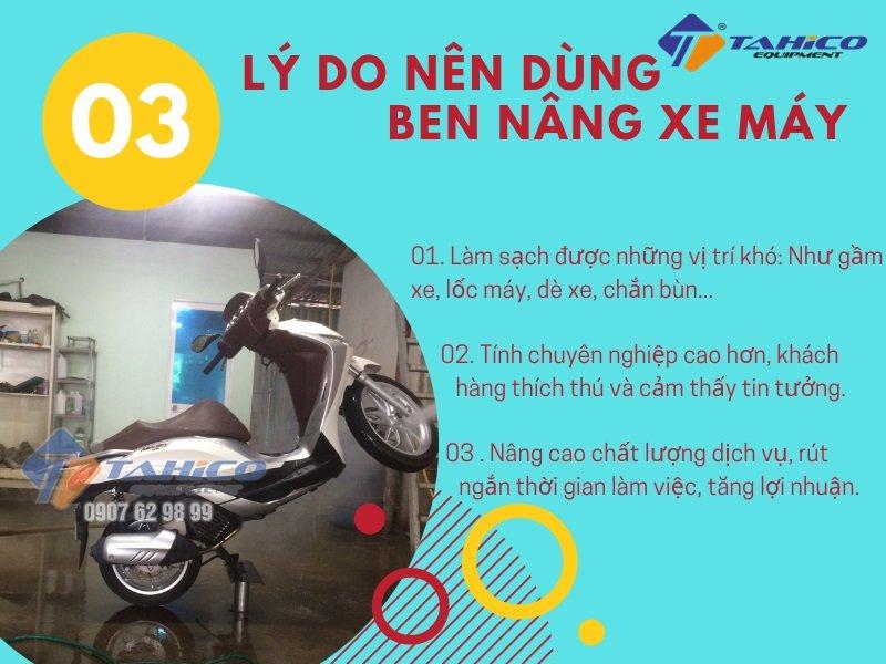Công dụng của ben nâng rửa xe máy