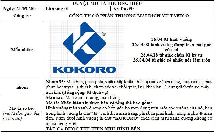 Nhãn hiệu máy nén khí Kokoro cũng được Tahico đăng ký độc quyền