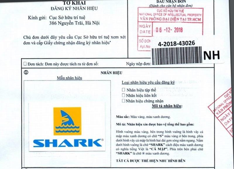 Phiếu đăng ký bảo hộ nhãn hiệu độc quyền thương hiệu SHARK tại Việt Nam