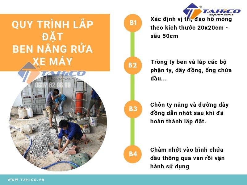 Quy trình lắp đặt ben nâng rửa xe máy hoàn chỉnh
