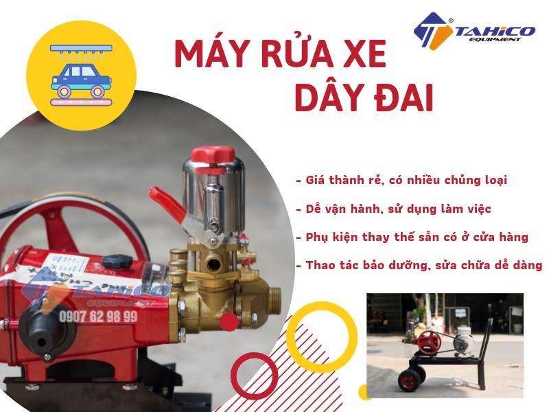 Máy xịt rửa xe dây curoa có ứng dụng đa dạng