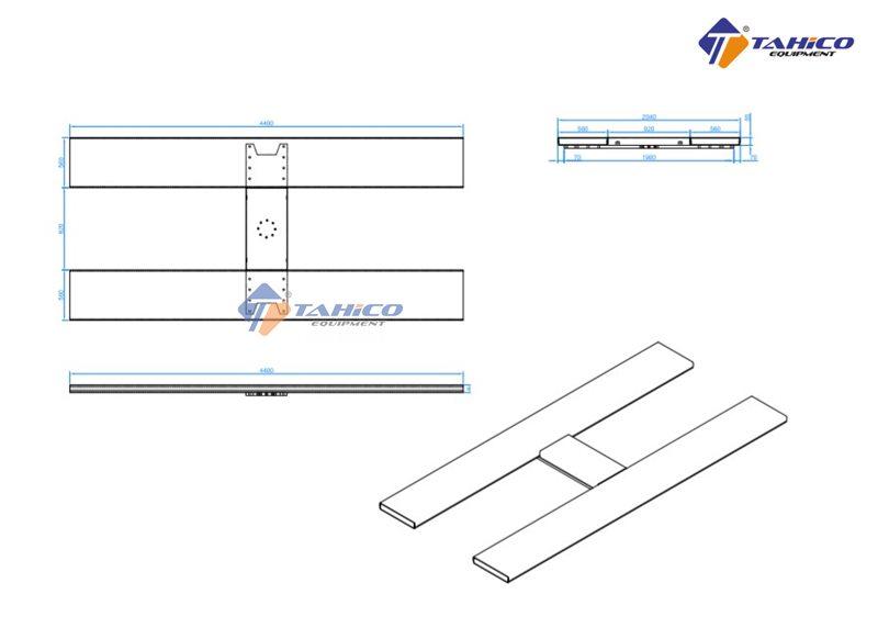 Kích thước bàn nâng cầu nâng 1 trụ chữ H âm nền