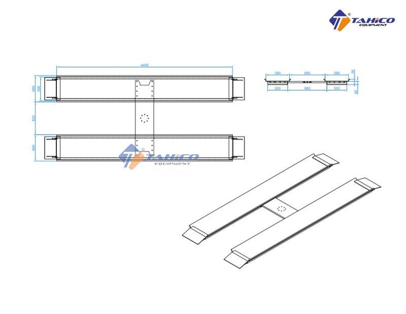 Kích thước bàn nâng cầu nâng 1 trụ chữ H lắp nổi
