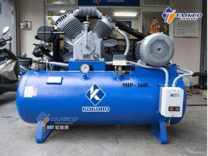 Máy nén khí KOKORO 5HP 2 cấp dùng điện 1 pha 260L