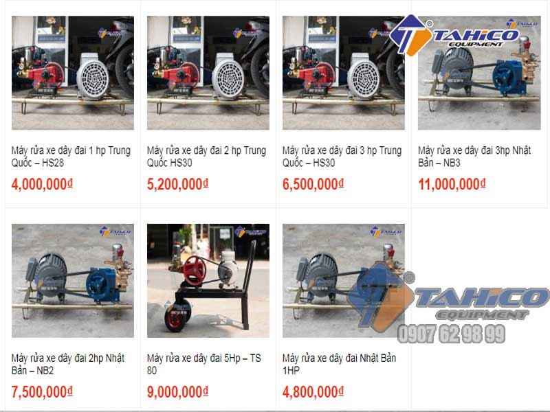 Các máy rửa xe dây đai tại công ty TAHICO