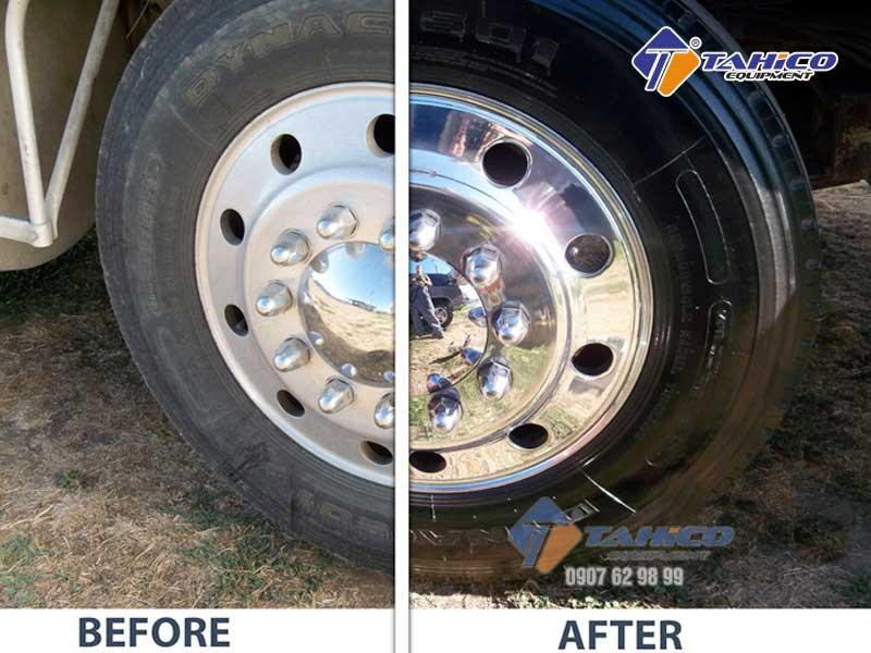 Trước và sau khi dùng dung dịch làm bóng lốp Ventek