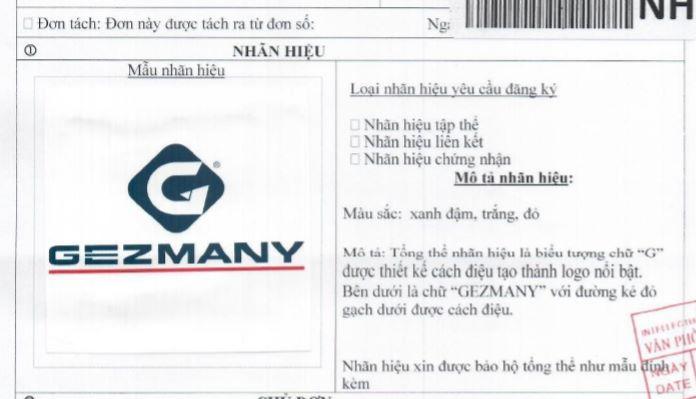 Nhãn hiệu máy hơi Gezmany được Tahico đăng ký độc quyền