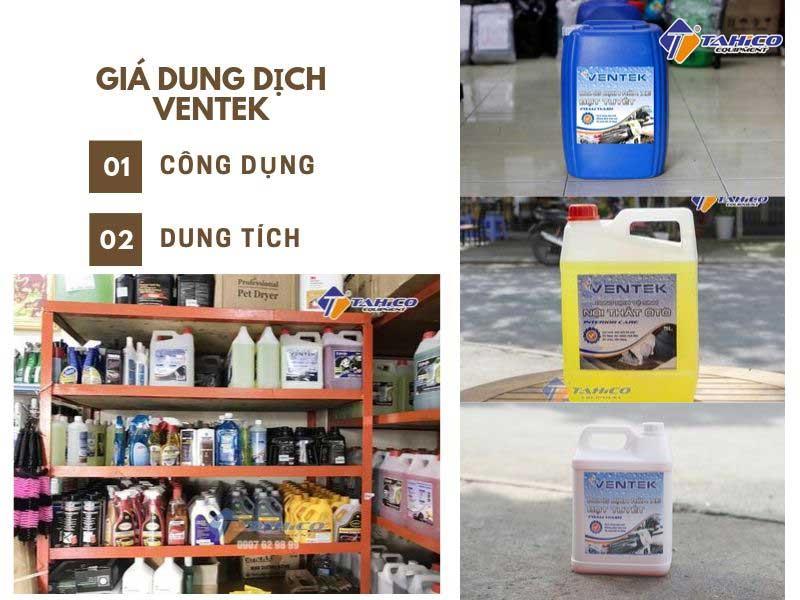 Giá dung dịch rửa xe Ventek phân theo công dụng, và dung tích