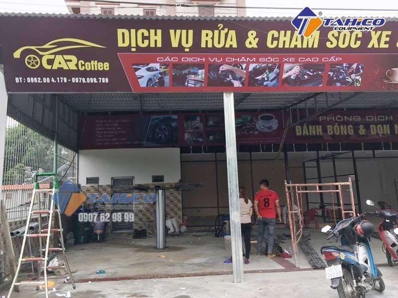 Thi công lắp đặt tiệm rửa xe của anh Ngân tại Nam Định