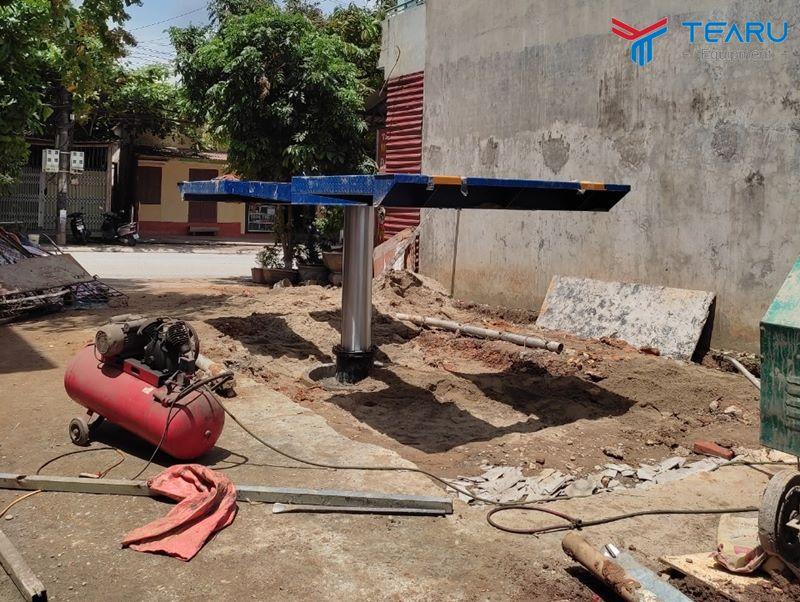 Lắp đặt cầu nâng 1 trụ rửa xe ô tô cho anh Toản ở thị trấn Mậu A - Yên Bái